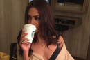 Esha was seen sporting just a robe before her actual get up clicked pictures sipping coffee in her vanity van.