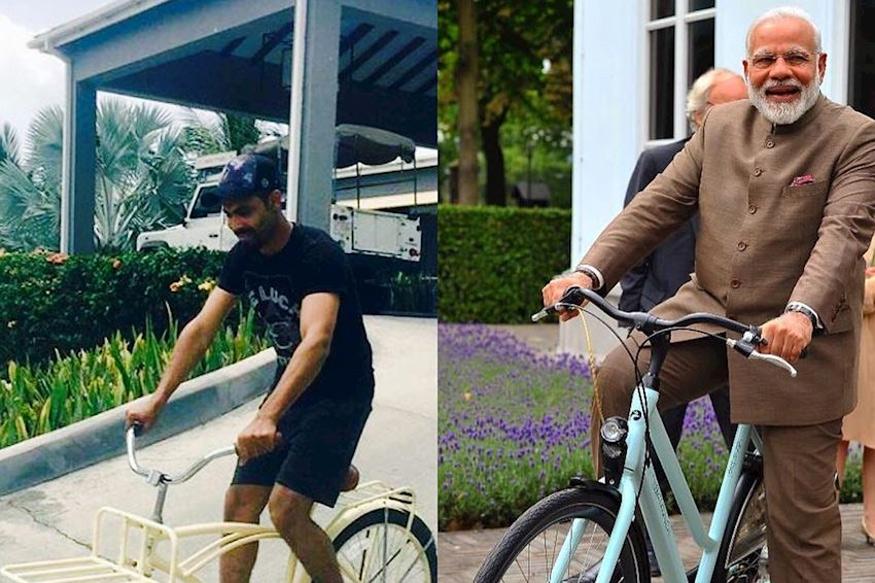 Ravinder Jadeja and Narendra Modi