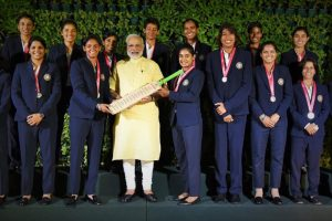Indian women's cricket team with Prime Minister Narendra Modi