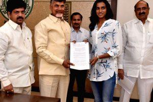 PV Sindhu and N Chandrababu Naidu