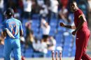 Jason Holder after taking the wicket of Hardik Pandya
