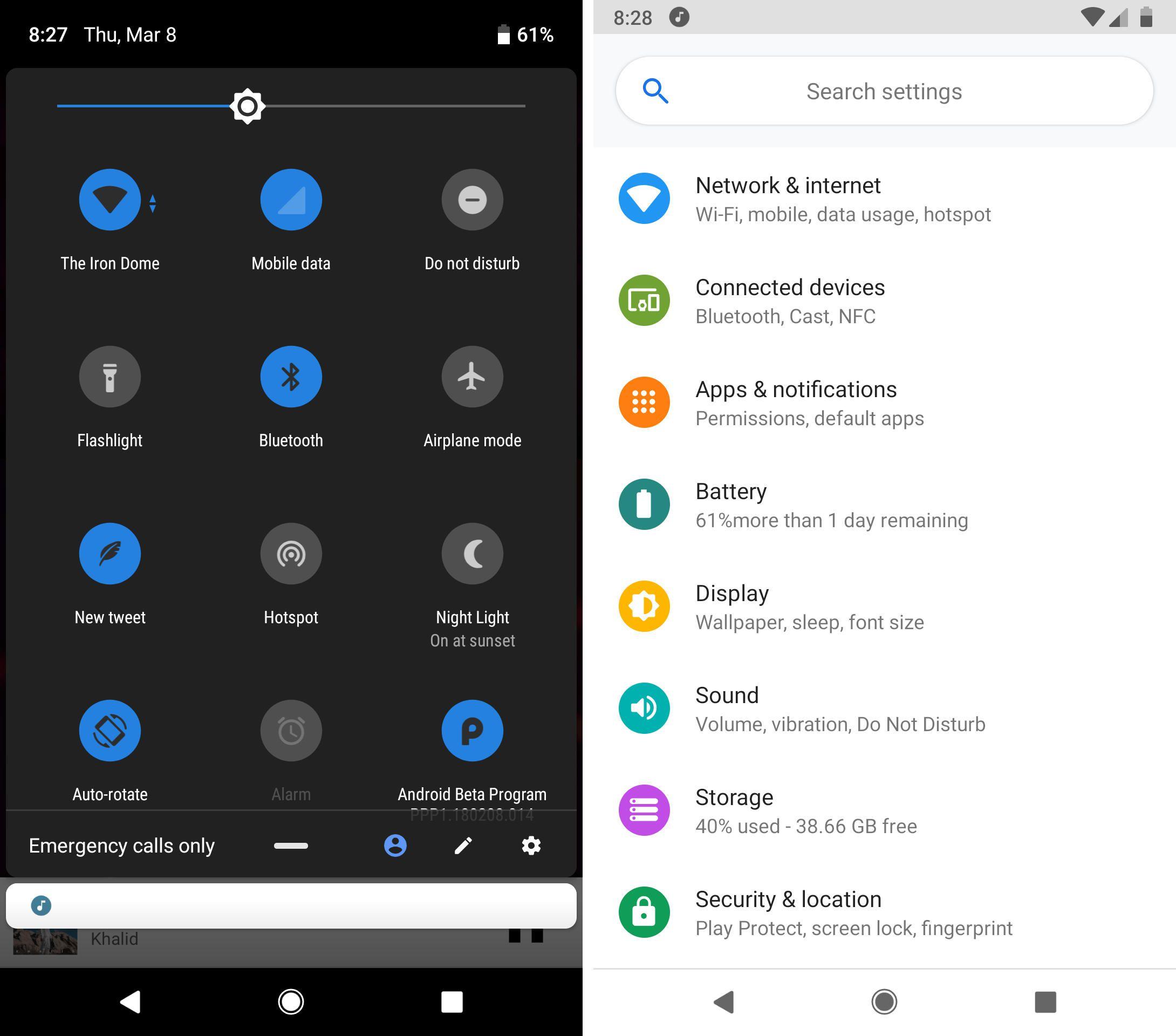 Giao diện và thanh công cụ trên Android Pie