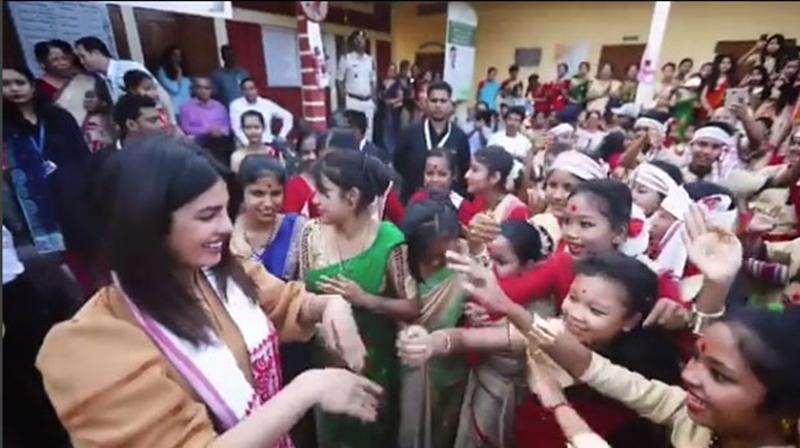 Priyanka Chopra tries her luck at Bihu dance in Assam