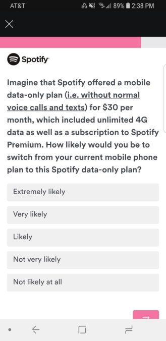 Spotify Survey Question