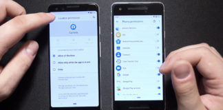 Android Q(left) Android P(right)