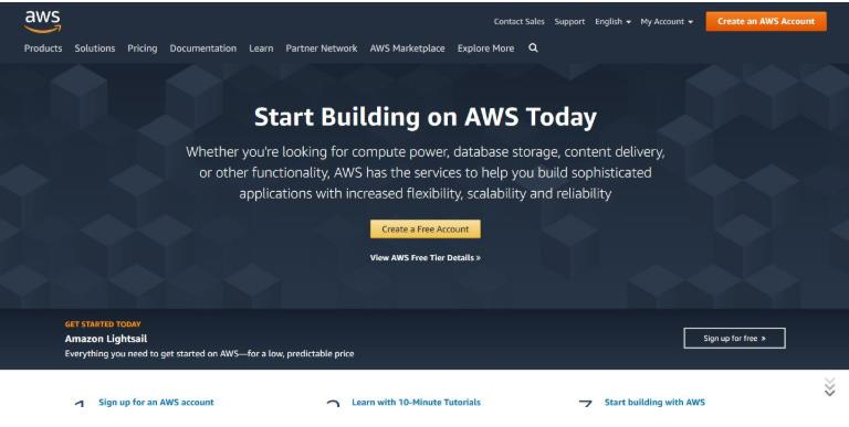 AWS homepage