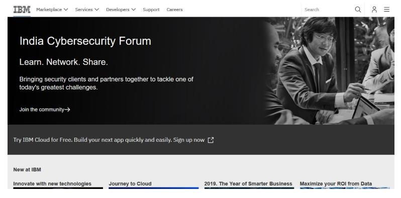IBM Cloud homepage