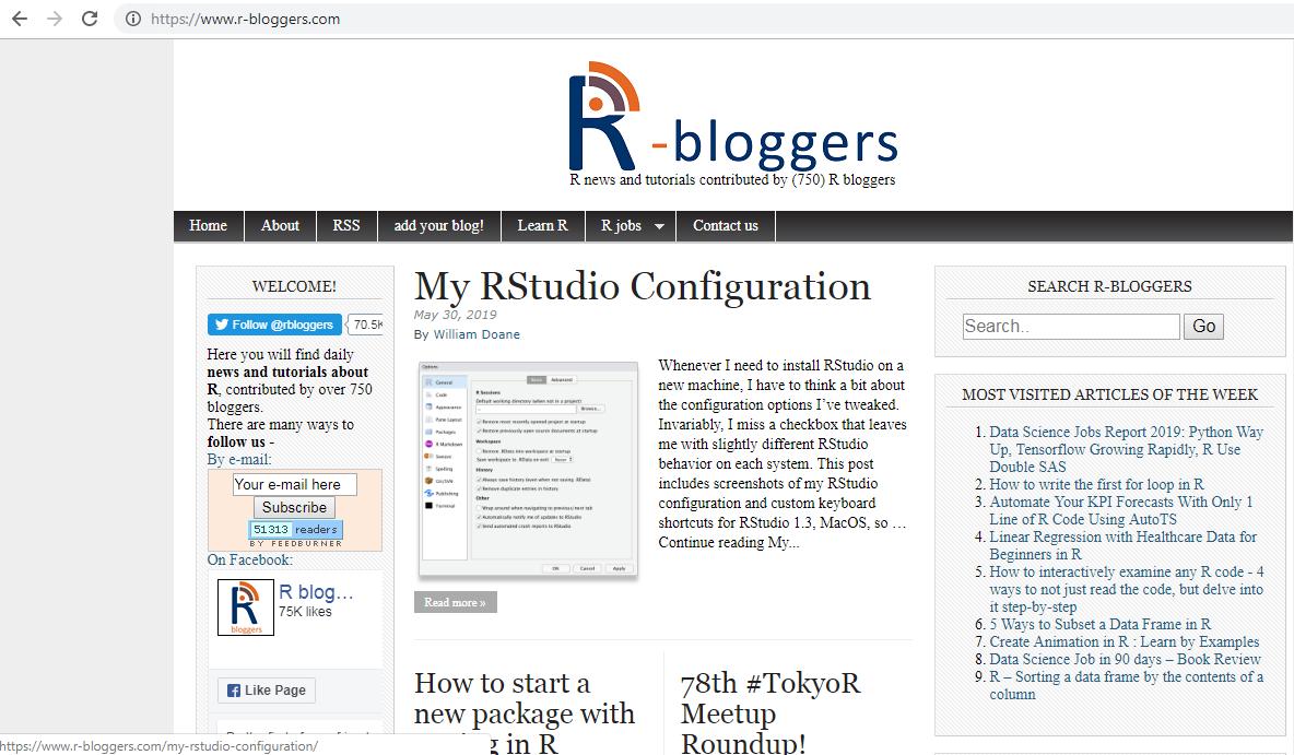Rbloggers homepage