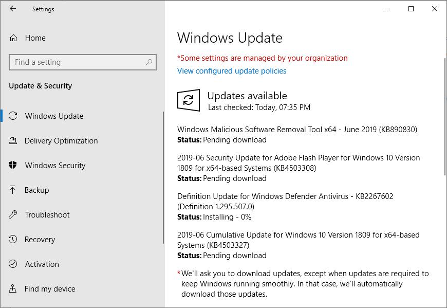 Windows June update