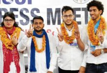 NSUI candidates Chetna Tyagi, Ankit Bharti, Ashish Lamba and Abhishek Chaprana at a press meet on Thursday. Mukesh Aggarwal