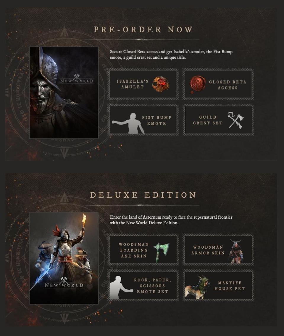 New world pack details