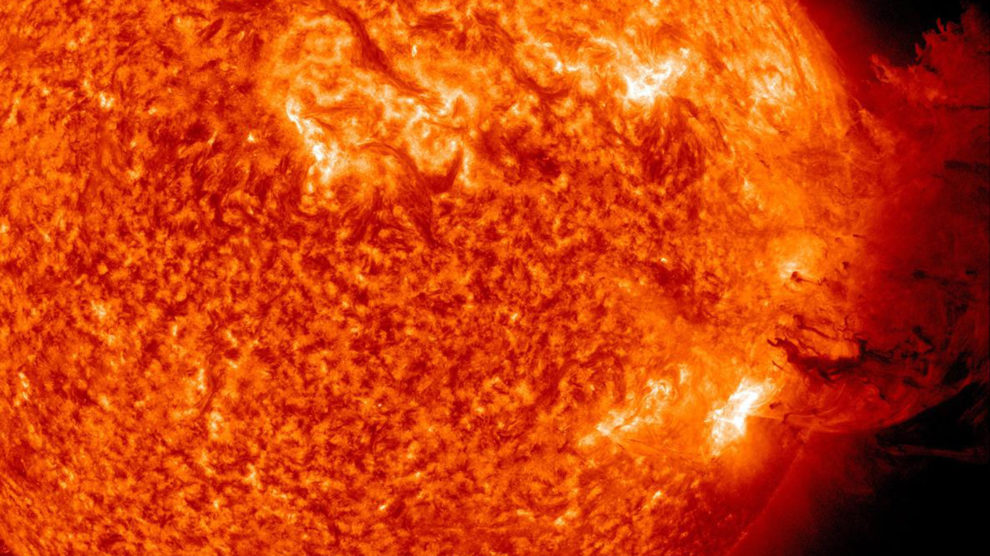 close view of a solar flare
