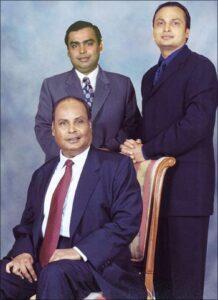 Dhirubhai Ambani and his sons