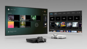 tv screens with xbox store open with xbox consoles