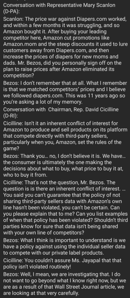 Conversation of Jeff Bezos with representatives