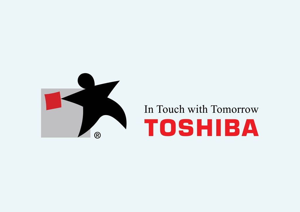 "Toshiba logo ""in touch with tomorrow"""