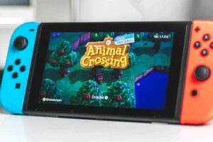 nintendo switch with animal crossing opened