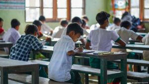 school students giving exams