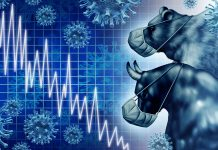 illustrated bull and bear wearing face masks and look at stock p