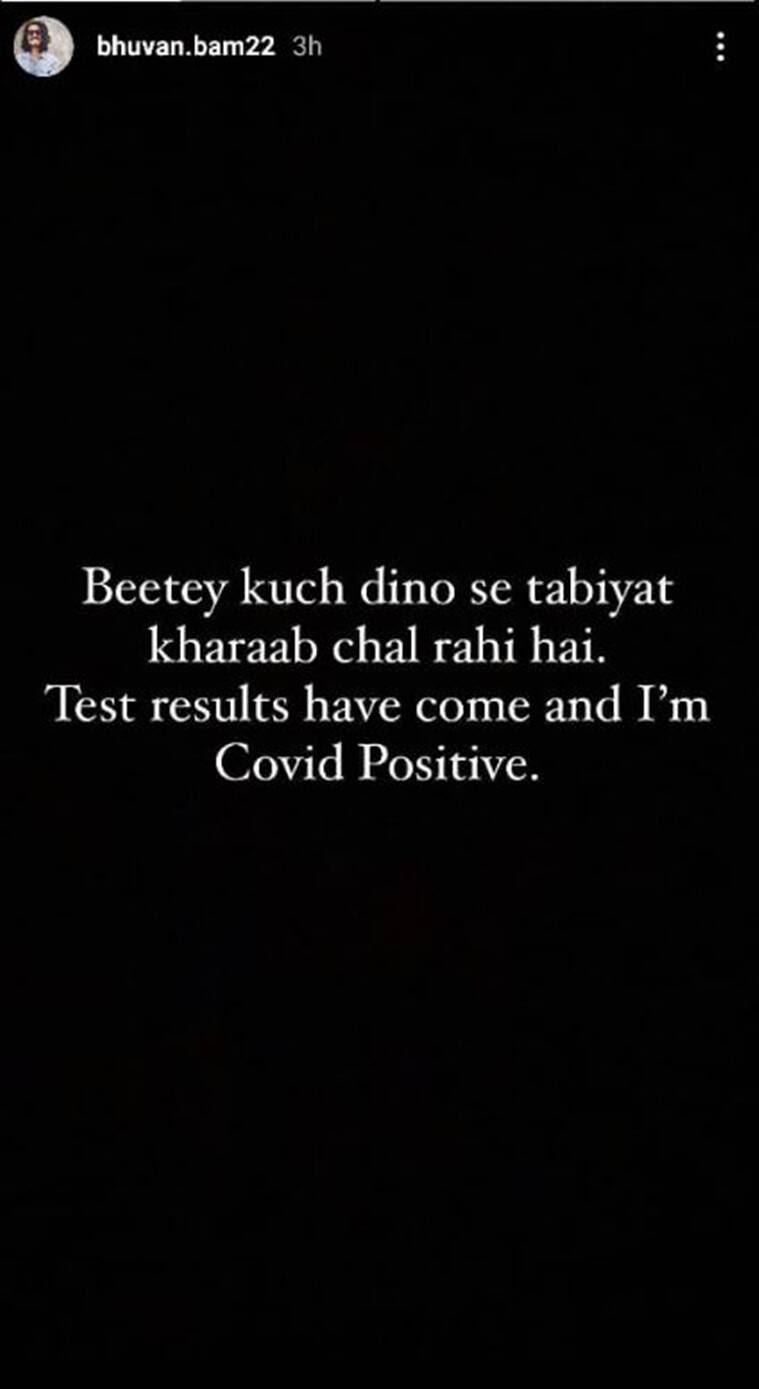 Bhuvan Bam post about Covid-19 positive